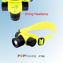 Водонепроницаемый Ipx8 150lm 3W CREE XP-E R2 Дайвинг светодиодные фары (POPPAS-FT50)