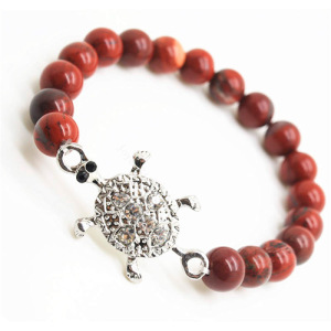 Red Jasper 8MM Round Beads Stretch Gemstone Bracelet with Diamante alloy tortoise Piece