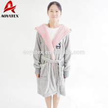 Wholesale plush solid embroidery hooded cute children bathrobe