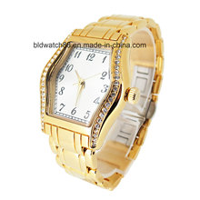 OEM Gold Brass Wrist Watches mujeres con cristales