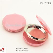 MC2713 Com tampa de diamante cosmético recipiente de fundação de pó compacto vazio