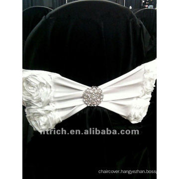 charming rose polyester chair sash for wedding and banquet