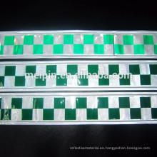 Cinta reflectora blanca verde PVC para mayor seguridad