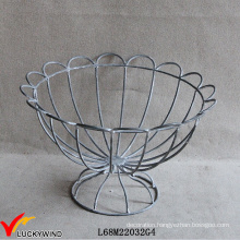 French Vintage Wirework Urn Decorative Metal Wire Basket