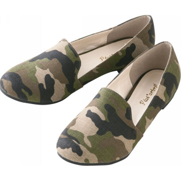 2015 Fashion camouflage material flat ballerina shoes in slip-on design women casual shoes