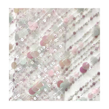 african 3d sequin net lace emboidered sewuin polyester fabric for dress