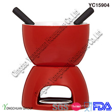 Set de fondue de chocolate de cerámica roja para la venta