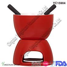 Набор из красной керамической шоколадной фондю для продажи