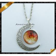 Nueva moda caliente collar de harajuku luna creciente galáctica vidrio cósmico de vidrio cabochon mujeres de cadena collar pendiente joyas (fn042)