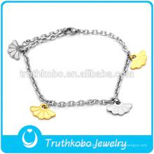 diseño floral de la buena suerte de la pulsera religiosa para la muchacha haga su propia pulsera del acero inoxidable