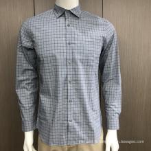 Chemise à carreaux à manches longues en spandex pour homme