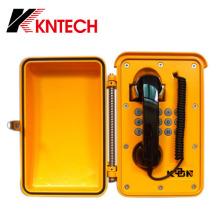 Black Curl Cable Resistente a altas temperaturas Teléfono Industrial Teléfono a Prueba de Polvo Teléfono de Montaje en Pared Knsp-01t2j
