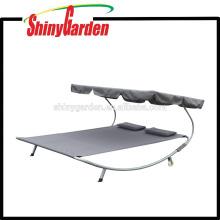 Columpio portátil que acampa cama de hamaca con soporte de acero para doble persona