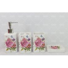 Conjunto de banheiro decorativo flor na promoção