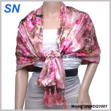 Doble capa de flores de satén bufanda (SNWDQ1001)