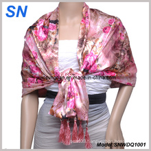 Double Layer Flower Satin Scarf (SNWDQ1001)