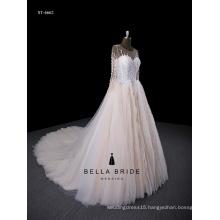 A-line China Supplier Lace Illusion Bodice appliqued Wedding Dress Sale