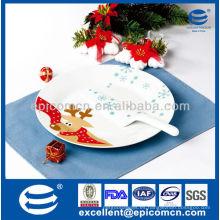 """Diseño de reno de Navidad de 2 piezas 10,5 """"placa de pastel de cerámica redonda con espátula"""