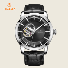 Reloj automático de acero inoxidable para hombres con correa de cuero negro 72284