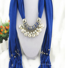 Charme élégant de glands de mode de femmes strass décoré bijoux en argent bijoux pendentif gris écharpe