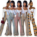 C7264 Sexy Women Tops Jogger Flare Pants Fall Plaid 2 Piece Tracksuits Bell Bottom Jeans Pants Workout Sets For Women