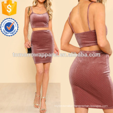 Crop Velvet Top & Bodycon Skirt Manufacture Wholesale Fashion Women Apparel (TA4102SS)