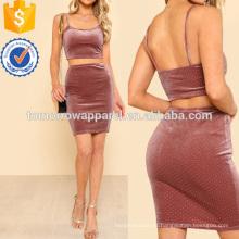 Top De Veludo Colheita & Bodycon Saia De Fabricação Atacado Moda Feminina Vestuário (TA4102SS)