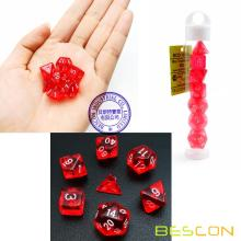 Bescon Mini Translucide Polyédrique RPG Dice Set 10MM, Petit jeu de rôle RPG Jeu Dice Set D4-D20 en Tube, Rouge Transparent