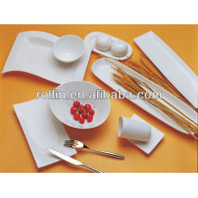 Heißes feines weißes Porzellan-Ofen sicheres Hotel-Kochgeschirr-Satz, Essgeschirr