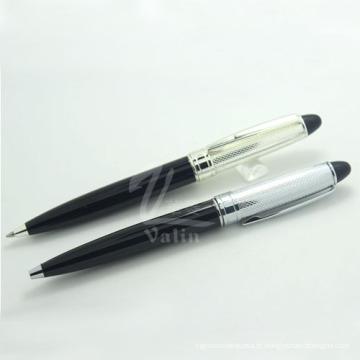 Bling Fine Silver Metal Ball Pen para presente precioso