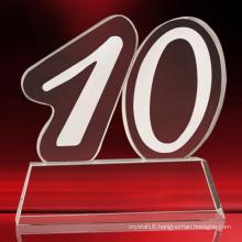 Number Model Crystal Glass Trophy for Souvenir
