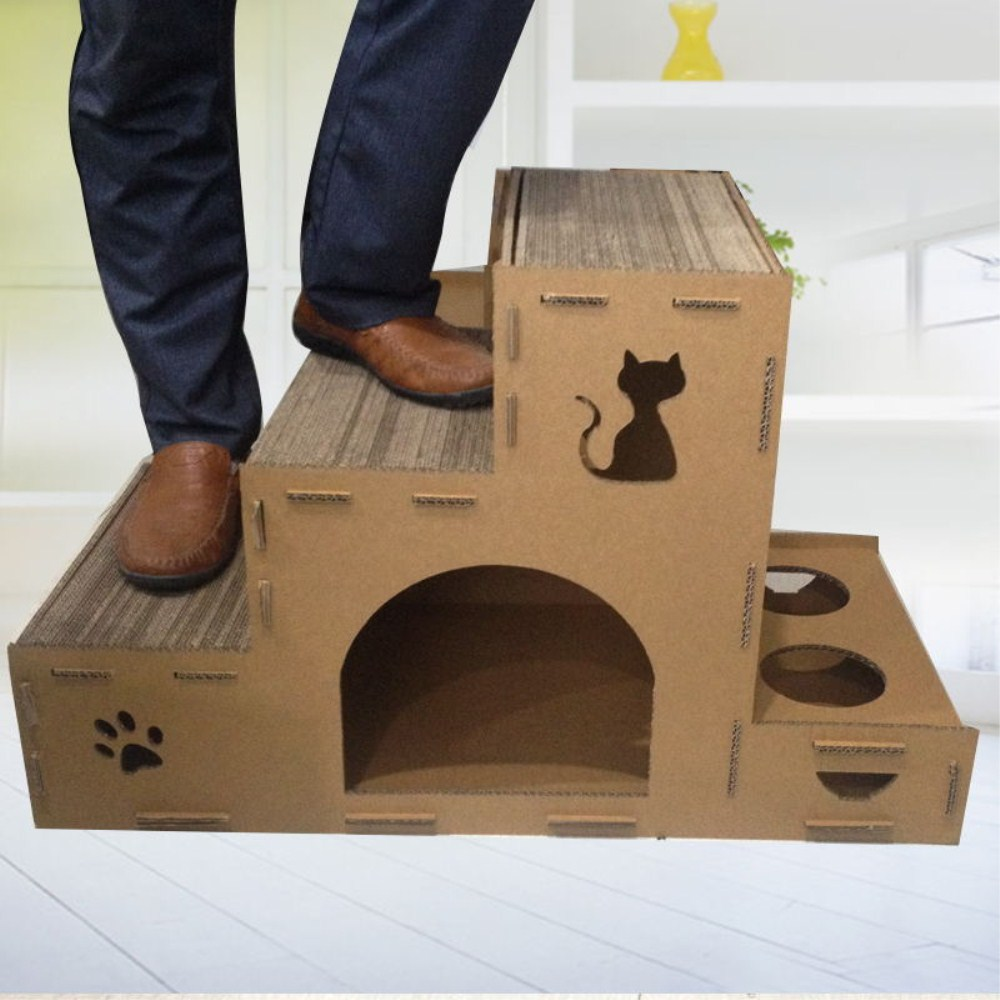 ladder type cardboard cat house scratcher