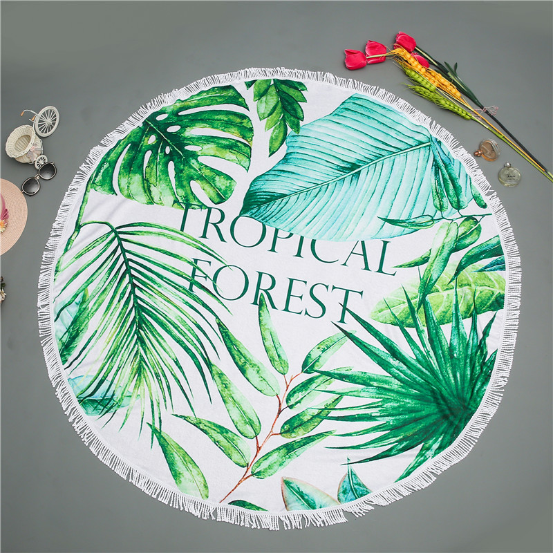 Summer Tropical Florida Banana Leaves Round Beach Towel