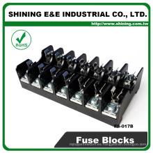 FS-017B 600V 10 amperios de 7 vías Midget Tipo Din Rail de vidrio fusible titular