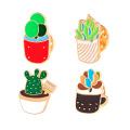 Kawaii Green Plants Potted Enamel Brooch Pins