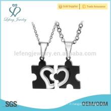 Pendentif bijoux en forme de coeur, pendentif noir