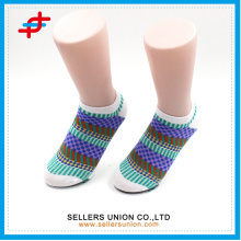 Hot ladies' colorful patterned dots stripes combined cotton ankle sock
