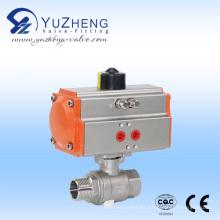 Válvula de bola de rosca 2PC con actuador neumático