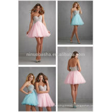 2014 New Made To Measure Prom Dress China Pink Short Tulle Made Crystal Bodice A-Line Party Gown With Sweetheart Neckline NB0690
