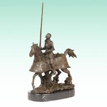 Armure Chevalier Sculpture En Métal Soldat Déco Cheval Bronze Statue Tpy-459
