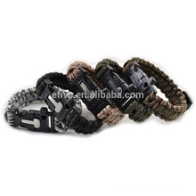 2015 hot fire starter whistle buckle paracord bracelets wholesale