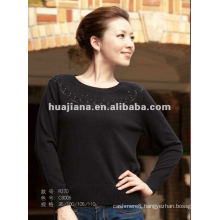 stylish women black scoop neck Cashmere sweater