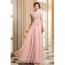 Alibaba Elegant Applique rose clair Long Mousseline O Neck Beach Dentelle Robes de soirée ou Robe de demoiselle d'honneur avec LE18 perles