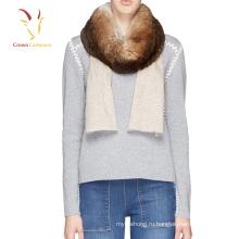 2017 зима новый стиль кашемир шарф с Лисий мех