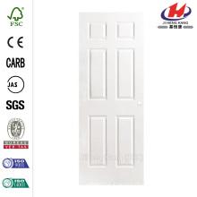 30 in. x 80 in. Textured 6-Panel Hollow Core Primed Composite Interior Door Slab with Bore