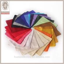 Solid color tingimento personalizado 100% seda mens bolso quadrados