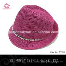 Papel especial com jóias Cadeia Fedora Hat produto de design original trança oferta de chapéus naturais
