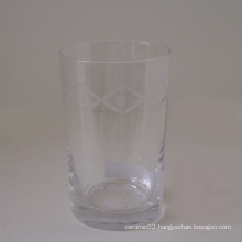 Clear Glass Cup W/Engraved Pattern