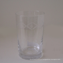 Copo de vidro transparente w / gravado padrão
