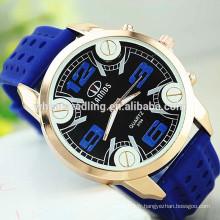 Montre bleu militaire en silicone noir en caoutchouc en caoutchouc Slim Silicone Sport Watch